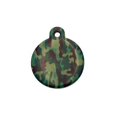Placa identificativa redonda con estampado de camuflaje