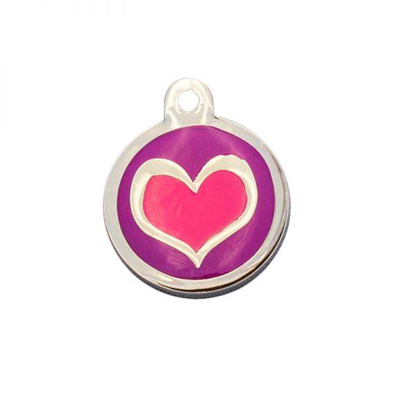 Chapa para perro redonda con corazón rosa sobre fondo morado