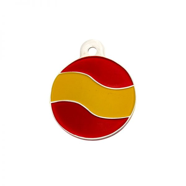 Placa identificativa redonda con la bandera de españa