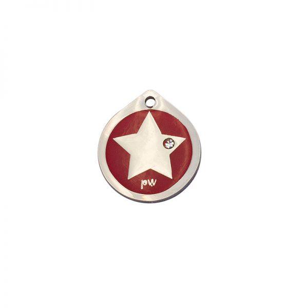 Placa identificativa con una estrella y un diamante sobre fondo rojo