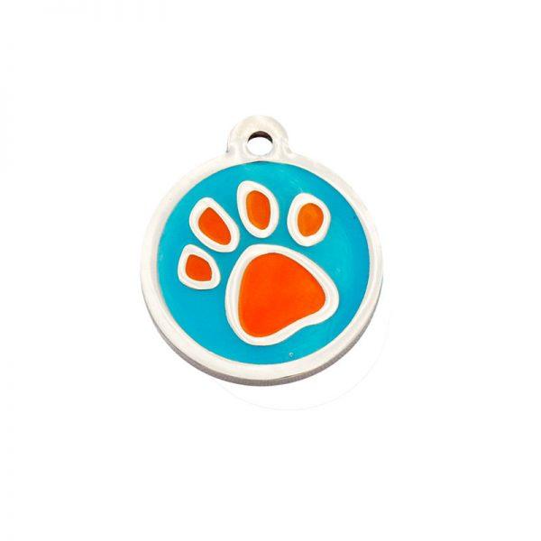 Placa Identifictiva redonda con un grosor 4mm con una huella naranja sobre fondo azul. Fabricadas en una resistente aleación de Zing y lacadas con vivos colores.